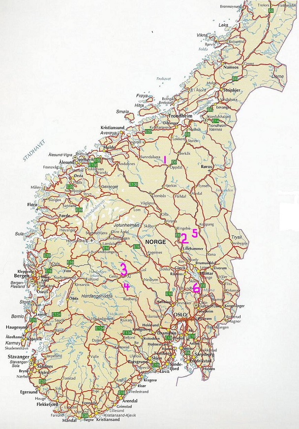 Maps Of Ancestral Homes - Map of cities in norway